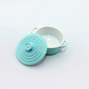 Doll House Mini Accessories Kitchen Cooking Utensils Mini Candy Color Soup Pot(Blue)