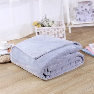 Solid Color Flannel Coral Fleece Blanket Super Soft Plaid Coverlet Sofa Cover Winter Warm Sheets Easy Wash Faux Fur Blankets, Size:150x200cm(Grey)