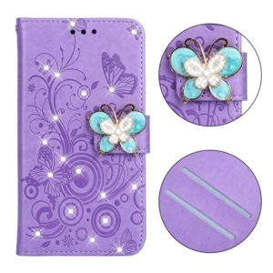 Diamond Encrusted Butterflies Love Flowers Pattern Horizontal Flip Leather Case for Galaxy M10 , with Holder & Card Slots & Wallet & Lanyard(Butterfly purple)