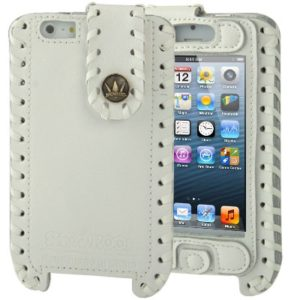 Hand-made Style Top-grain Cowhide Leather Case with Touch Pen & Screen Protector for iPhone 5 & 5s & SE & SE (White) (SHOWKOO)