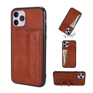 For iPhone 11 Pro Shockproof PC + PU Protective Case with Spring Holder & Card Slot(Brown)
