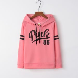 Printed Hooded Loose Casual Sport Sweater (Color:Pink Size:L)