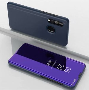 For Galaxy A10s Plated Mirror Horizontal Flip Leather Case with Holder(Purple Blue)