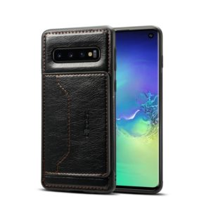 Dibase TPU + PC + PU Crazy Horse Texture Protective Case for Galaxy S10 E, with Holder & Card Slots(Black) (dibase)