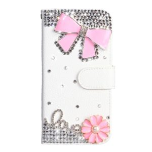 Rhinestone Pattern Horizontal Flip Leather Case with Holder & Card Slots & Wallet & Lanyard For Galaxy S10+(Pink Bow)