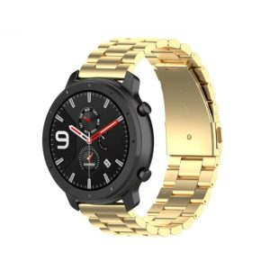Applicable To Ticwatch Generation / Moto360 Second Generation 460 / Samsung GearS3 / Huawei GT Universal 22mm Stainless Steel Metal Strap Butterfly Buckle Three Beads(gold)