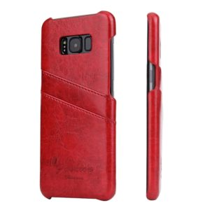 Fierre Shann Retro Oil Wax Texture PU Leather Case for Galaxy S8, with Card Slots(Red)