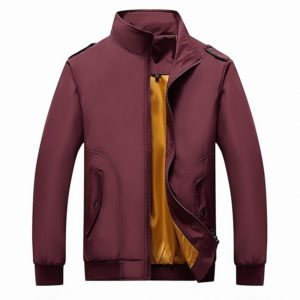 Solid Color Collage Long Sleeve Stand Collar Men Jacket (Color:Red Size:5XL)