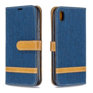 Color Matching Denim Texture Leather Case for Huawei Y5 (2019), with Holder & Card Slots & Wallet & Lanyard(Dark blue)