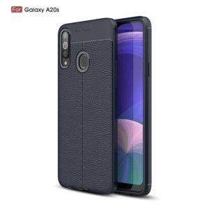 Litchi Texture TPU Shockproof Case for Galaxy A20s(Navy Blue)