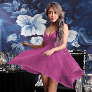 FunAdd Women Sexy Sheer Solid Color Lace Strap Dress Chemise Babydoll Lingerie with G-string Purple, Size: Fit Weight 40-60kg (FunAdd)