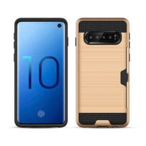 Ultra-thin TPU+PC Brushed Texture Shockproof Protective Case with Card Slot for Galaxy S10(Gold)