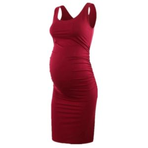 Solid Color Round Neck Sleeveless Maternity Dress (Color:Red Size:XL)