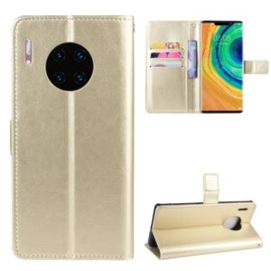Retro Crazy Horse Texture Horizontal Flip Leather Case for Huawei Mate 30 Pro, with Holder & Card Slots & Photo Frame(Gold)