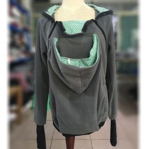 Three-in-one Multi-function Mother Kangaroo Zipper Hoodie Coat Size: M, Chest: 90-93cm, Waist: 70-72cm, Hip: 97-99cm (Grey+Green)