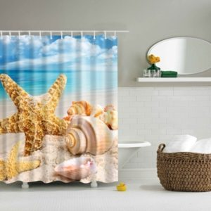 2 PCS Colorful Beach Conch Starfish Shell Polyester Washable Bath Shower Curtains, Size:120X180cm(Big Shell )