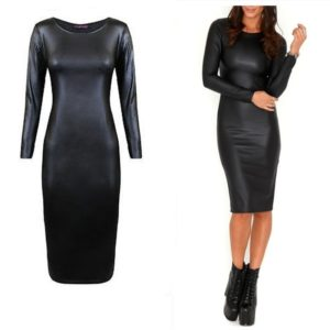 Sexy Women Club Suit PU Texture Long Sleeved Round Neck Knee-length Dress (Color:Black Size:XXL)