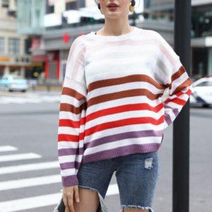 Women Color Striped Stitching Sweater Sweater (Color:Purple Size:M)
