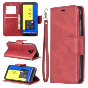 Retro Lambskin Texture Pure Color Horizontal Flip PU Leather Case for Galaxy J6 2018, with Holder & Card Slots & Wallet & Lanyard(Red)