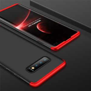 GKK Three Stage Splicing Full Coverage PC Case for Galaxy S10+ (Black Red) (GKK)
