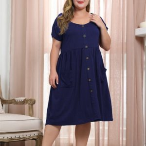 Round Neck Raglan Sleeve Buckle Double Side Pockets Large Size Dress (Color:Blue Size:XXXXL)