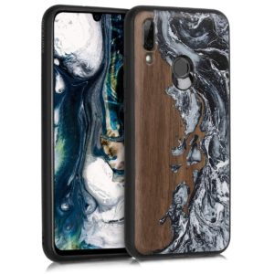 KW KW Σκληρή Ξύλινη Θήκη Huawei P Smart (2019) - Watercolor Waves White / Black / Brown (48602.08)