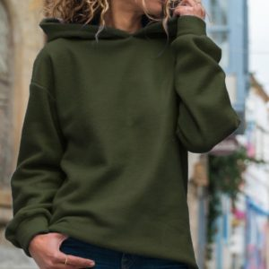 Fashion Hoodie Long Sleeve Blouse (Color:Army Green Size:S)