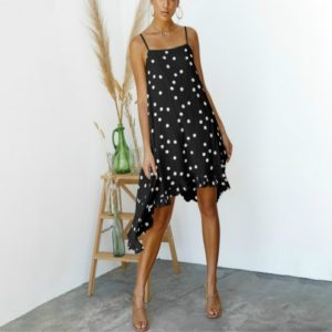 Women Holiday Print Irregular Chiffon Dress, Size: M(Black)