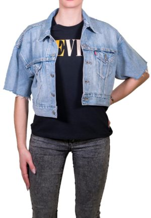 LEVIS SHORT SLEEVE CROPPED TRUCKER JACKET (85296-0001) Light Indigo