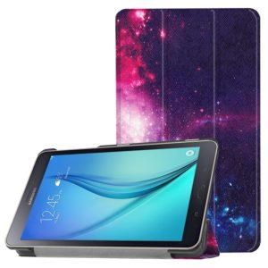 For Galaxy Tab A 8.0 Cosmic Galaxy Pattern Horizontal Deformation Flip Leather Case with Three-folding Holder