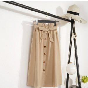 Knee Length Elegant Button High Waist Skirt Female Pleated Skirt, Size:One Size(Khaki)