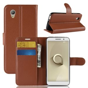 Litchi Texture Horizontal Flip Leather Case for Vodafone Smart E9 / VFD 520 , with Wallet & Holder & Card Slots(Brown)