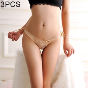 3 PCS FunAdd Women Fashion Lace Transparent Straps Thongs Low-waisted Sexy Enticing Panties, Free Size (Flesh Color) (FunAdd)