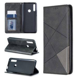 Rhombus Texture Horizontal Flip Magnetic Leather Case with Holder & Card Slots For Huawei P Smart Z / Y9 Prime (2019)(Black)