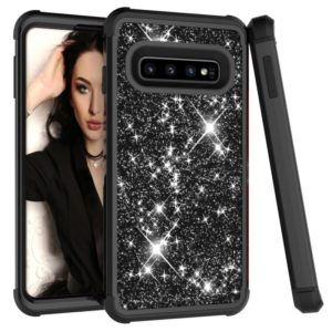 Glitter Contrast Color Silicone + PC Shockproof Case for Galaxy S10 (Black)