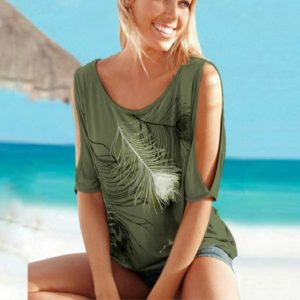 Casual Short Sleeve Tops Tees Sexy Off Shoulder Feather Print O-neck Loose Shirts for Women, Size:XXL(Army Green)