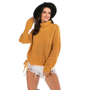 Pure Color Long Sleeve Women Sweater (Color:Yellow Size:XL)