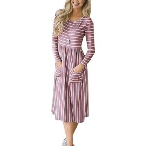 Round Neck Striped Double Pocket Long-sleeved Dress, Size: S(Red )