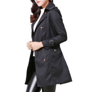 Mid-length Slim Casual Lace-up Trench Windbeaker (Color:Black Size:S)