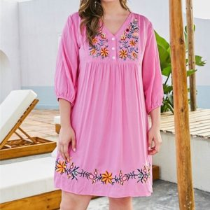 Floral Embroidered Buckle V-Neck Seven-sleeve Large Size Women A-Line Dress (Color:Pink Size:XXL)