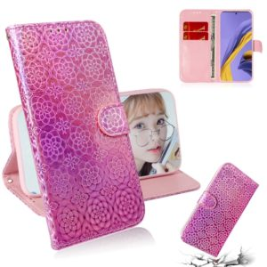 For Galaxy A51 Solid Color Colorful Magnetic Buckle Horizontal Flip PU Leather Case with Holder & Card Slots & Wallet & Lanyard(Pink)