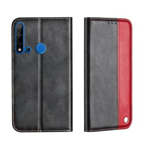 For Huawei P20 Lite 2019 Business Solid Color Stitching Horizontal Flip Leather Case, with Holder & Card Slots & Wallet & Lanyard(Red)
