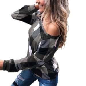 Off-the-shoulder Plaid Slim Long-sleeved Top (Color:Grey Size:XXXL)