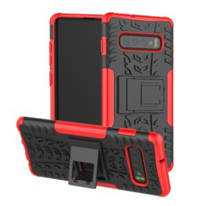 Tire Texture TPU+PC Shockproof Case for Galaxy S10+, with Holder (Red)