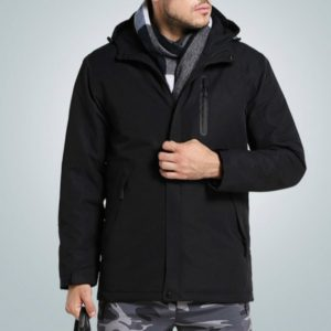 Autumn and Winter Men and Women Smart Heating Jacket Carbon Fiber Heating Travel Jacket, Size:L(Men Black)