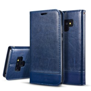 Double-sided Absorption Splicing Horizontal Flip Leather Case for Galaxy Note9, with Holder & Card Slots & Lanyard (Blue)