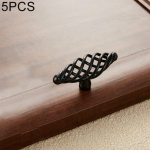 5 PCS 6103 Single Hole Classic Birdcage Shape Iron Cabinet Wardrobe Drawer Door Handle (Matte Black)