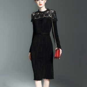 Retro Commuter Hollow Lace Stitching Long-sleeved Long Dress Folds (Color:Black Size:L)