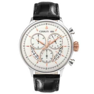 Ρολόι CERRUTI 1881 Dervio Black Leather Chronograph - CRA26803 CRA26803