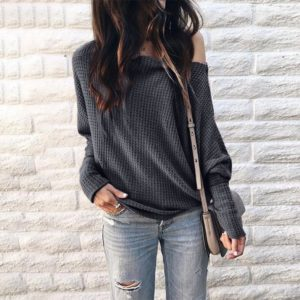 Long Sleeve Loose Printed One-shoulder Knit Shirt (Color:Grey Size:XL)